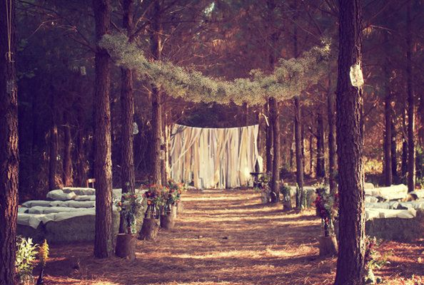 in the woods: Outdoor Wedding, Forests Wedding, Plans A Wedding, Dreams Wedding, Projects Wedding, Woodland Wedding, Hay Bale, Rustic Wedding, Wedding Ceremony