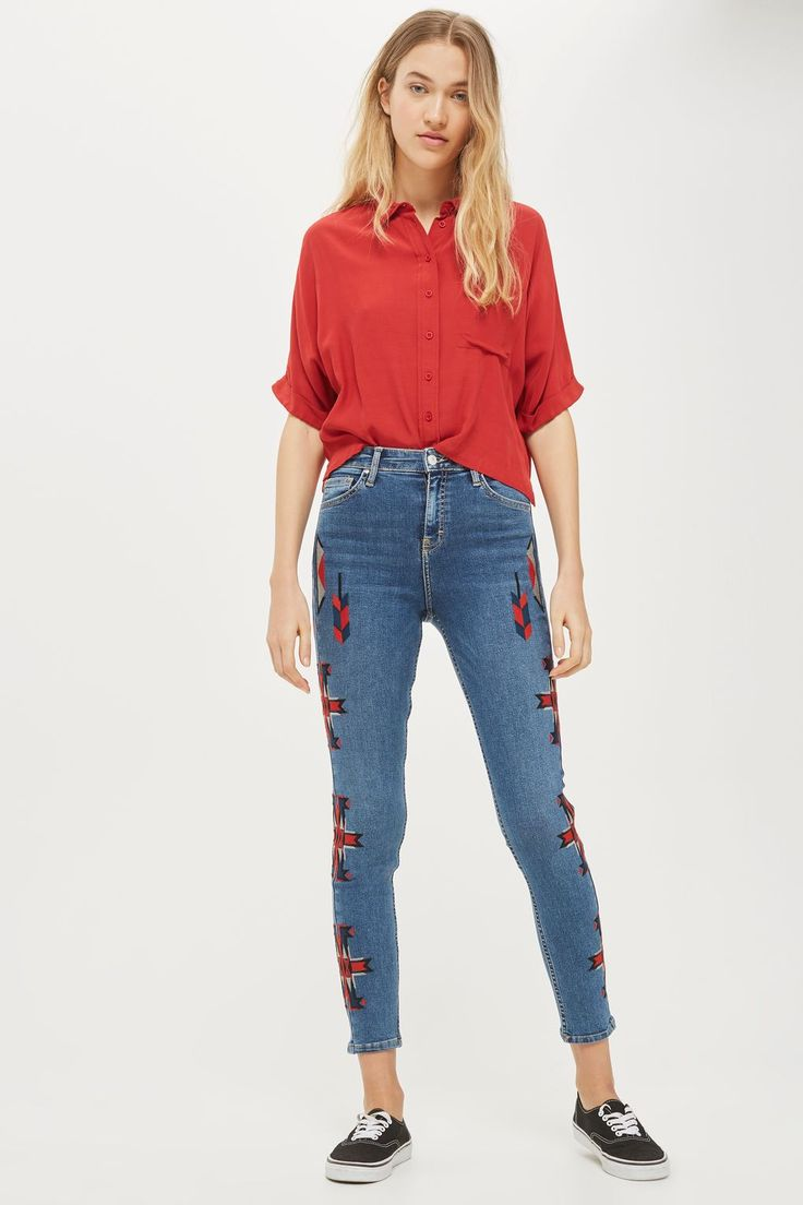 MOTO Embroidered Jamie Jeans - Jeans - Clothing - Topshop