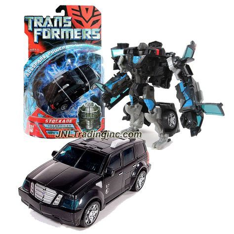 "Hasbro Transformers 1st Movie All Spark Power Series Deluxe Class 6"" Tall Figure - Decepticon STOCKADE with Lever Punch Attack (Vehicle Mode: SUV)"