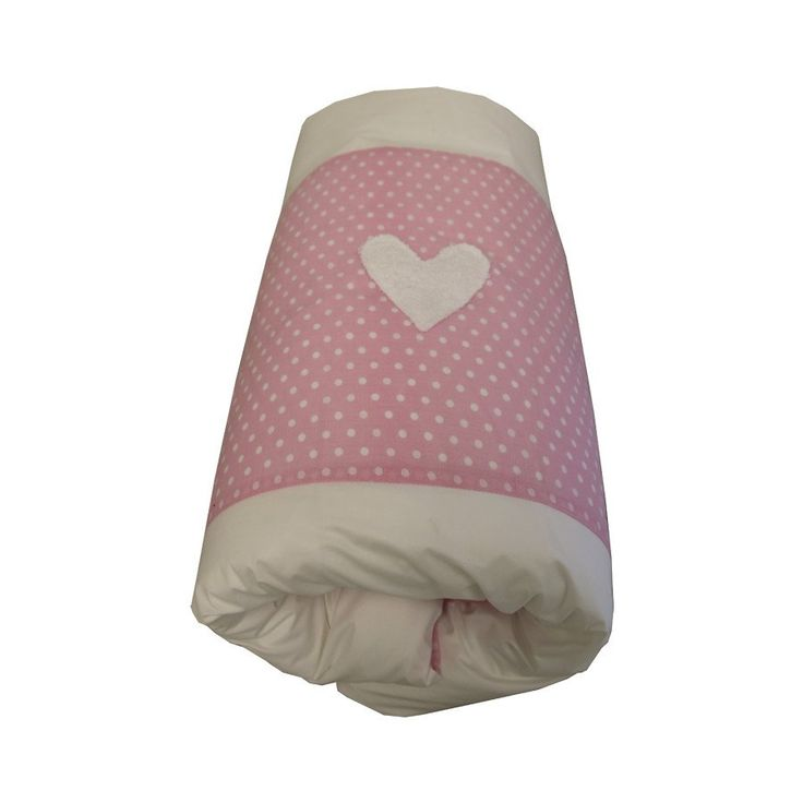 Pink / White Dots Hearts - Cot Duvet Cover