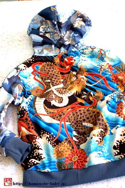 バックに勇ましい龍柄ジップアップカーディガン-手作り和柄子供服『神の手』