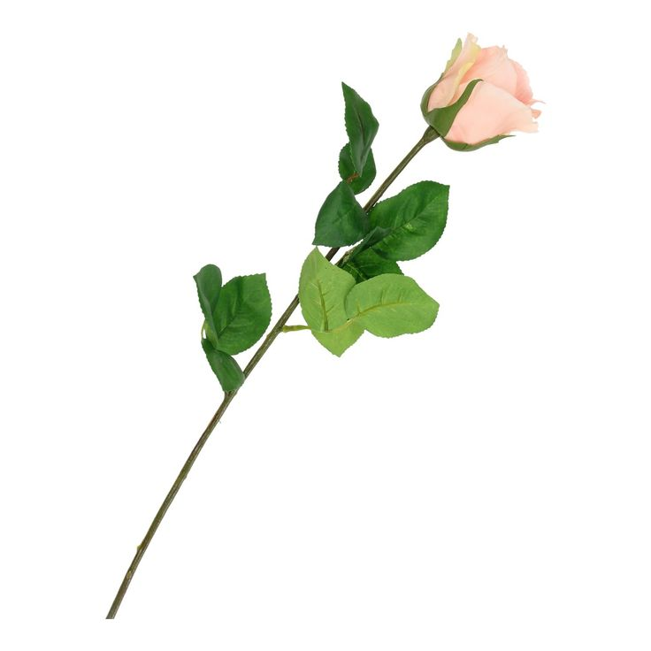 Kunst roos met zalmkleurige blaadjes. Afmeting: lengte 70 cm - Kunst Roos - Zalmkleur