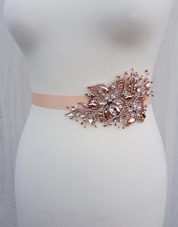 Rose gold bridal belt Swarovski sash rose by MagnificenceBridal