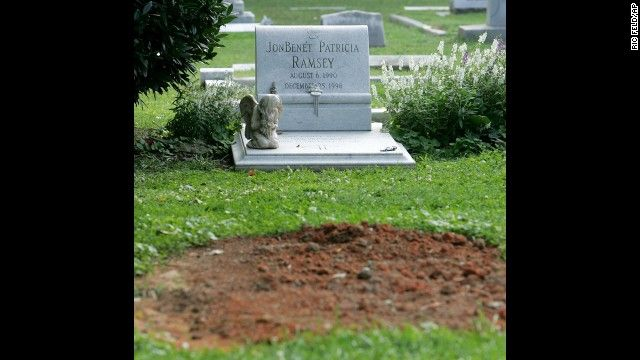 Patsy Ramsey died in Roswell, Georgia, at the age of 49 after a 13-year battle with ovarian cancer. Her unmarked grave is pictured in front ...