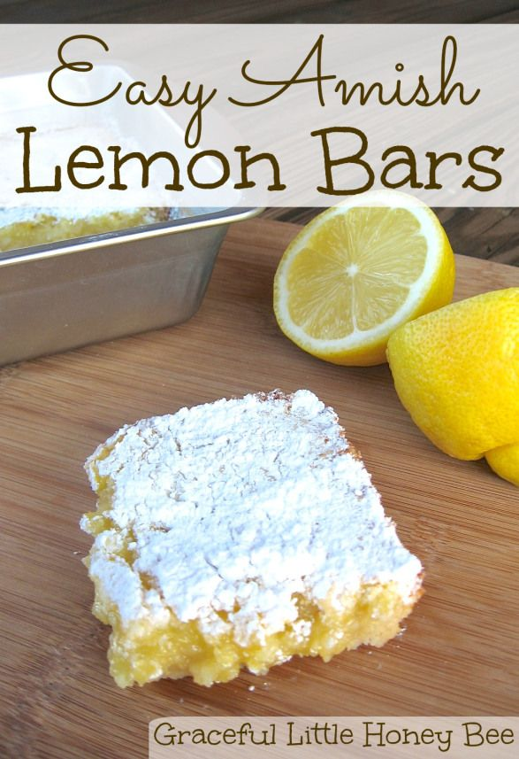 These Amish Lemon Bars are a snap to make and taste amazing!  With added frozen blackberries on top of the cooked shortbread layer, before you add the lemony bit, they are even better :)