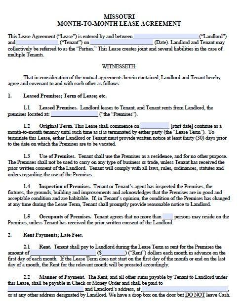 Printable Sample Monthly Rental Agreement Form