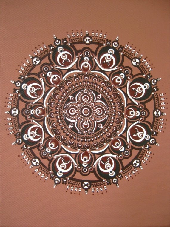 """Original mandala painted free-hand with layers of caramel and chocolate colored acrylic on a 6"""" x 8"""" stretched canvas in Oakland, California in 2009. Signed on front."""
