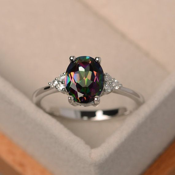 Mystic topaz ring rainbow topaz ring oval cut by LuoJewelry