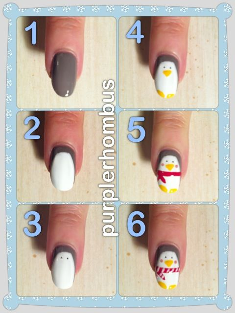 Penguins | so cute | winter | nail art | nail design | purple | cold | tutorial | DIY | easy | cute nails | pictorial |