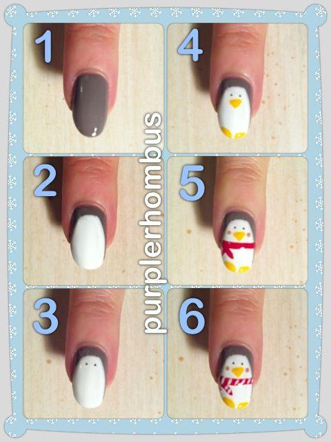 Penguins | so cute | winter | nail art | nail design | purple | cold | tutorial | DIY | easy | cute nails | pictorial |