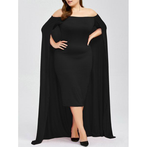 Off The Shoulder Plus Size Cape Dress, BLACK, XL in Plus Size Dresses | DressLily.com