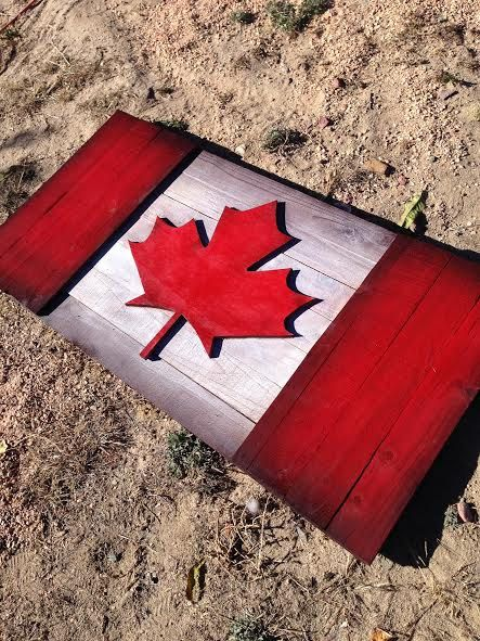 Canadian Wood Flag Rustic Hand Made by BowersSplinterWorks on Etsy
