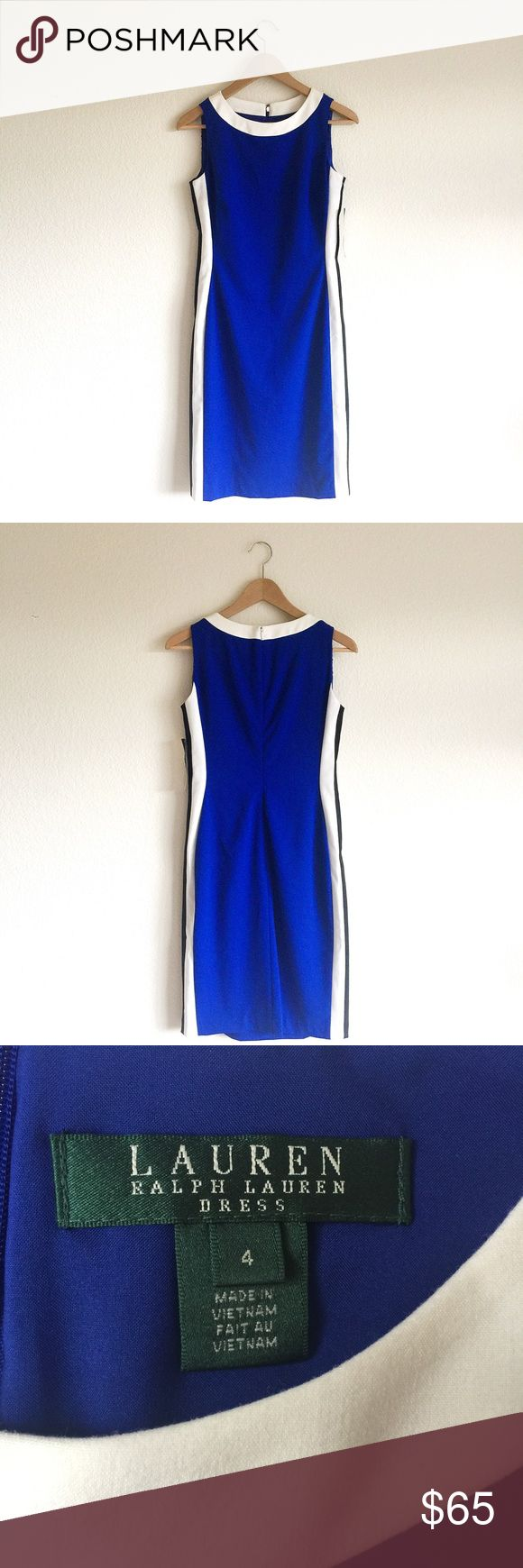 """LAUREN RALPH LAUREN - sleeveless striped dress sleeveless sheath dress royal blue, black & white polished dress striping on side creates flattering silhouette  concealed zipper w/ hook & eye closure rounded neckline darts at bust fully lined clean finished hem  NWT. small ink stain near hem (see pic 6). flaw in fabric (see pic 7 & 8). dry clean only.   measurements bust - 33"""" waist - 29""""  hip - 38"""" length (shoulder to hem) - 38""""  📸 taken by me 💸 bundle 2+ items for 10% off  ⚡️fast shipper…"""