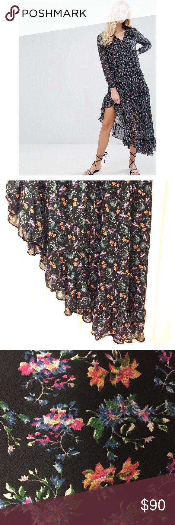 Walter Baker Benji Dress in Floral Medley Walter Baker Benji Dress in Floral Medley, Size 8. NWT. Fully Lined & Stunning Asymmetrical ruffled bottom. Walter Baker Dresses