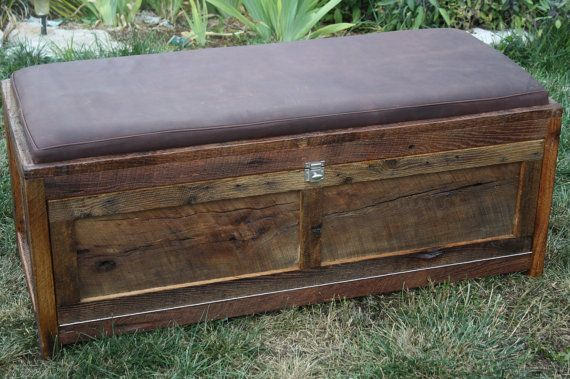 Your Customized Reclaimed Rustic Barn Wood Upholstered Storage Chest Or Bench On Etsy