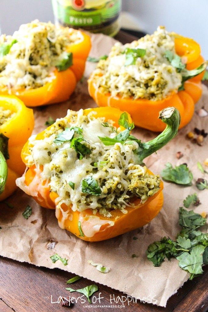 5-Ingredient Pesto Chicken Stuffed Peppers