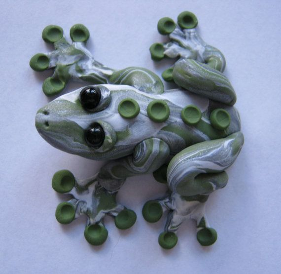 Polymer Clay Silver Green Tree Frog by JolieBlonBounce on Etsy