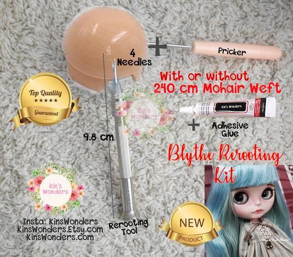 Rerooting Kit for Blythe, Pullip, Doll Rehairing – OOAK Custom Blythe Doll Scalp Hair Needle Pricker & Mohair weft – NEW