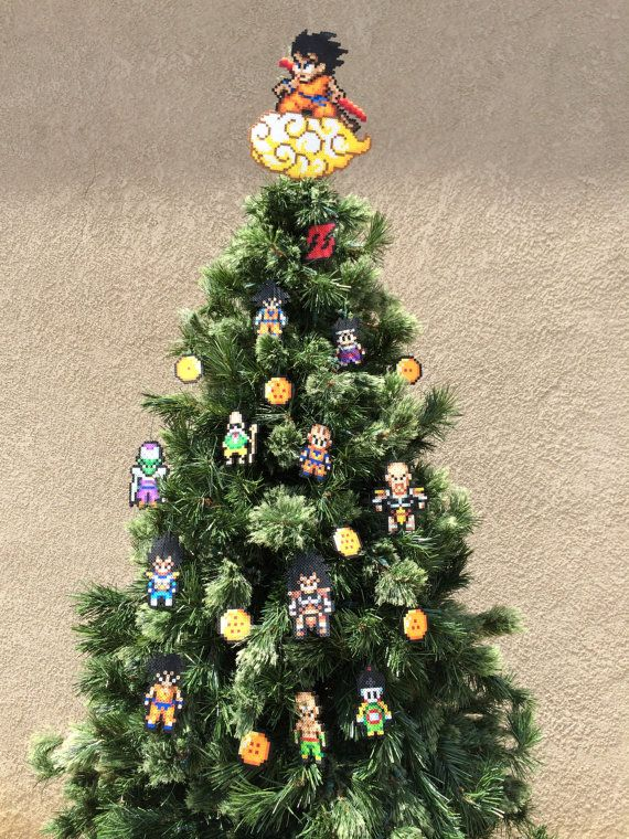 These Dragonball Z Perler Sprites are handmade to order. NOTE: These Dragonball Z Ornaments and Goku tree topper were modeled on a 10 foot