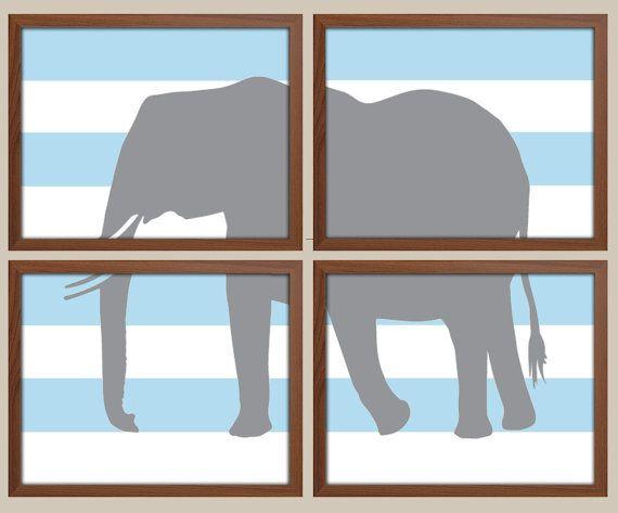 Elephant Art for Children  Baby Nursery Decor  by iNKYSQUIDKIDS
