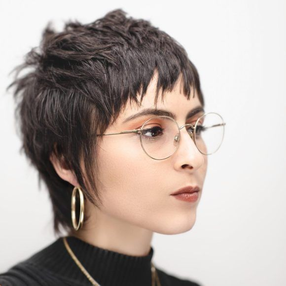 Brunette Cropped Razor Cut Mullet with Chaotic Texture and Chopped Pony with Sideburns Short Fall Hairstyle