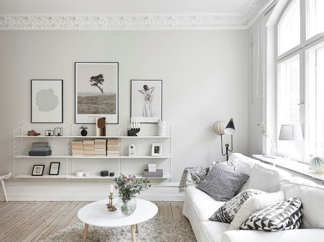 A lovely monochrome and light wood Swedish home. Entrance.