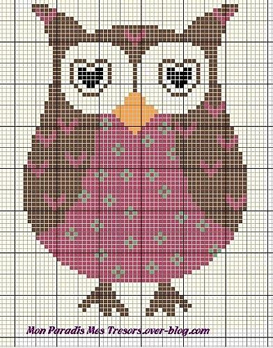 (o▼o) Owl Cross Stitch Pattern