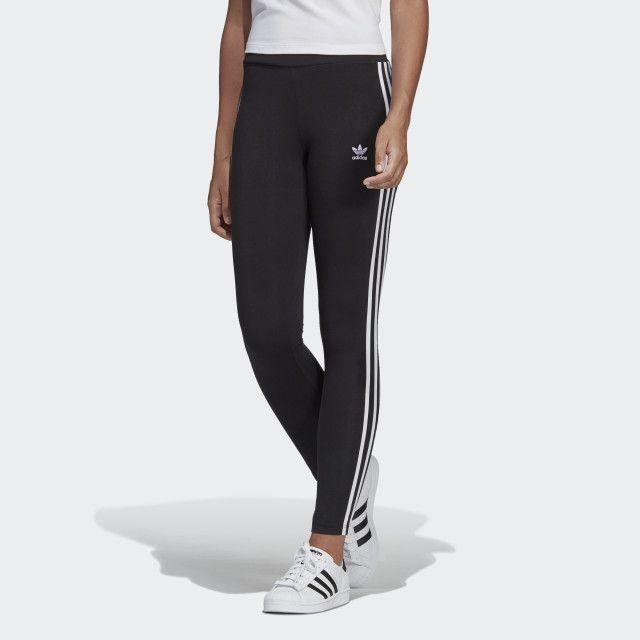 3-Stripes Leggings Schwarz Damen in 2020 | Schwarze adidas ...