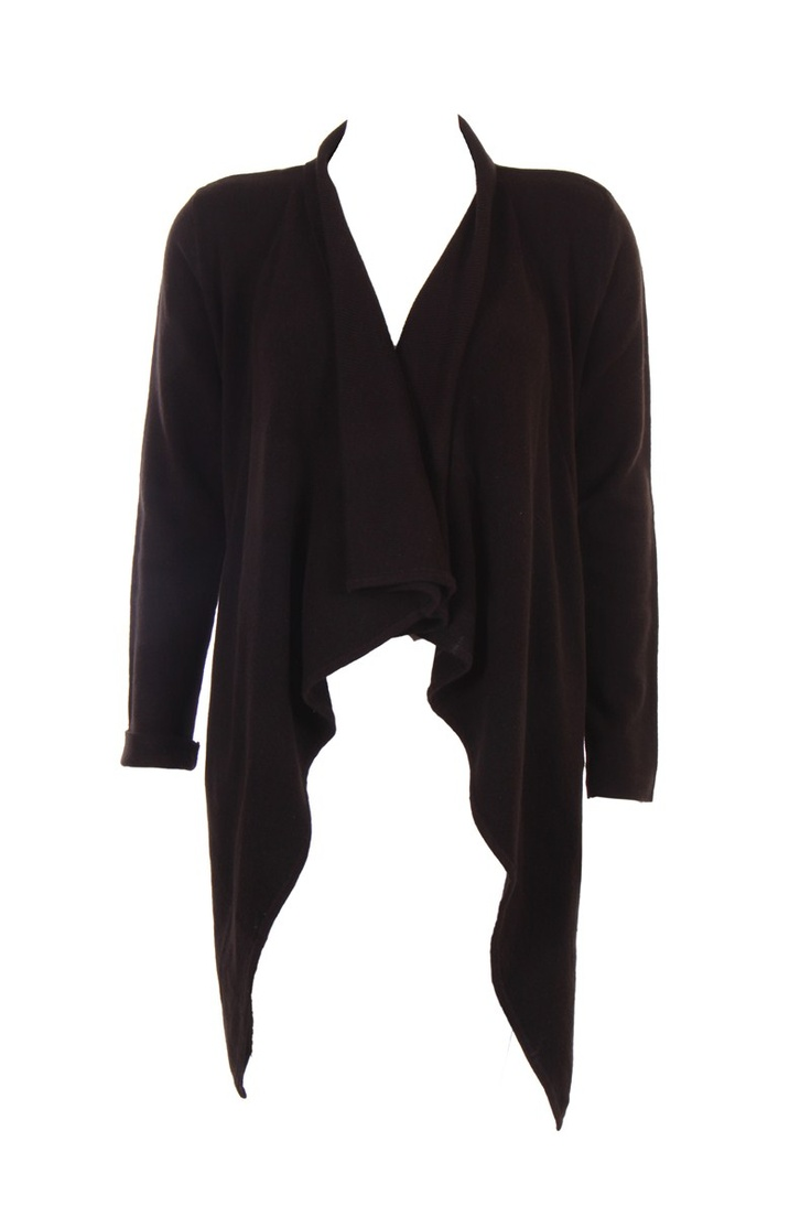 """Water Fall Drape Cardigan In Black;100% Soft Acrylic; 35.5 """" Inches N Length"" Outer Wear #Clothing #Fashion #Style #Wear #Colors #Apparel #SemiFormal #Casuals #W for #Woman"
