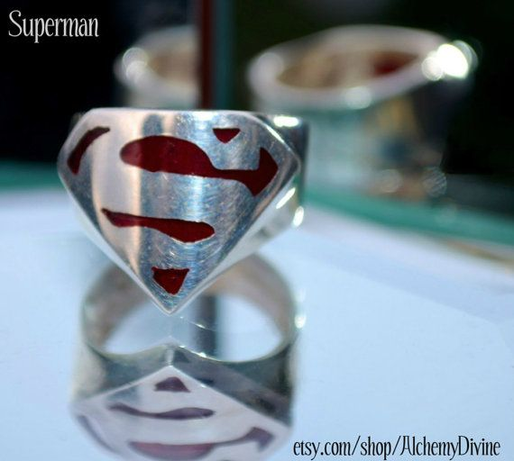 Vintge 80s sterling Superman Superhero ring by #AlchemyDivineCouture