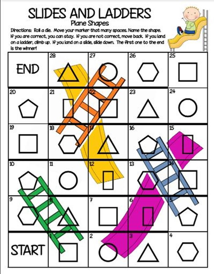Activities for teaching 2D shapes - chutes and ladders game