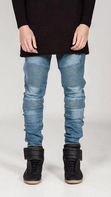 Mens Skinny jeans men Runway Distressed slim elastic jeans denim Biker jeans hip hop pants Washed Pleated jeans blue