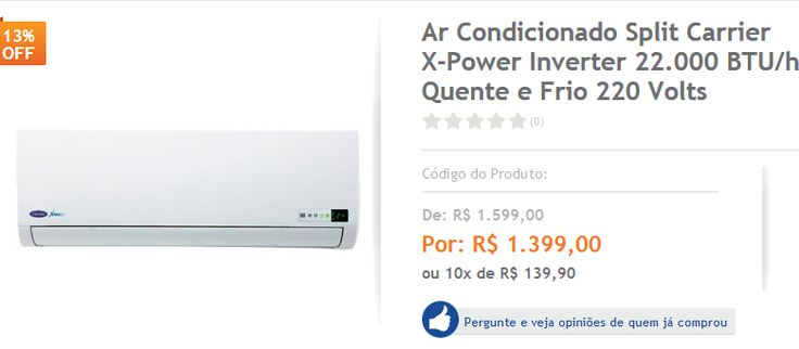Ar Condicionado Split Carrier X-Power Inverter 22.000 BTU/h Quente e Frio 220 Volts << R$ 139900 em 10 vezes >>