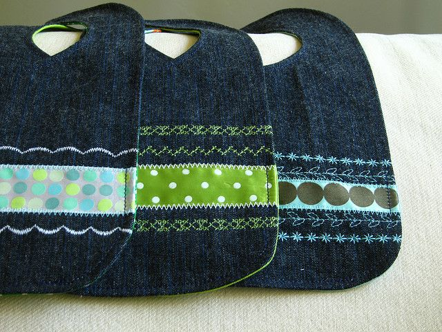Adorable bibs from recycled jeans. Seems like a great shower gift idea ... They'd certainly be durable!