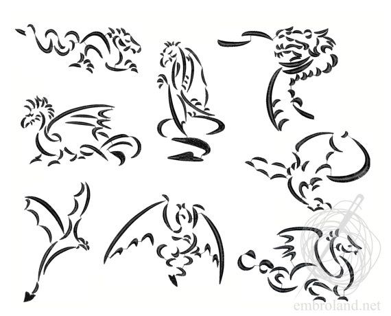 Dragons Machine Embroidery Design Instant Download Eight