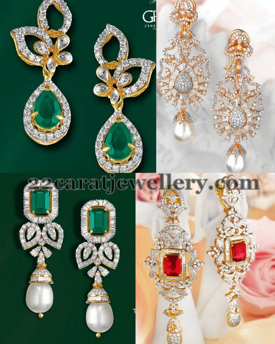 Jewellery Designs: Latest Designer Diamond Earrings