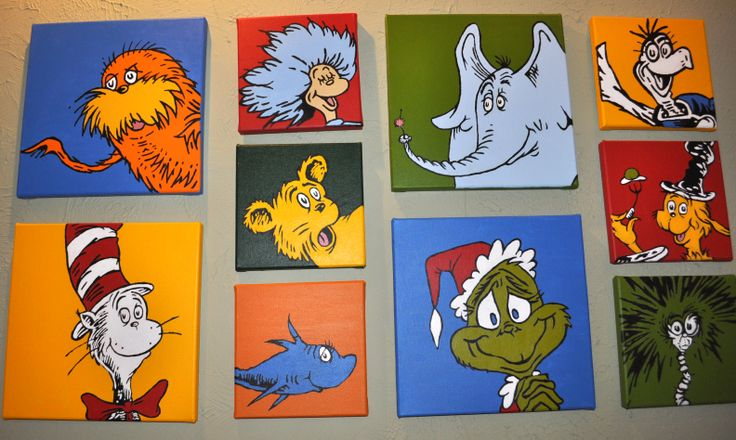 Dr. Seuss characters painted on canvas. Used a cheap projector to trace image on canvases. Super easy.