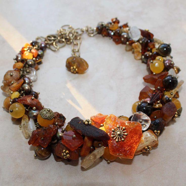 Ожерелье из натурального необработанного янтаря, цитрина, агата, стекла