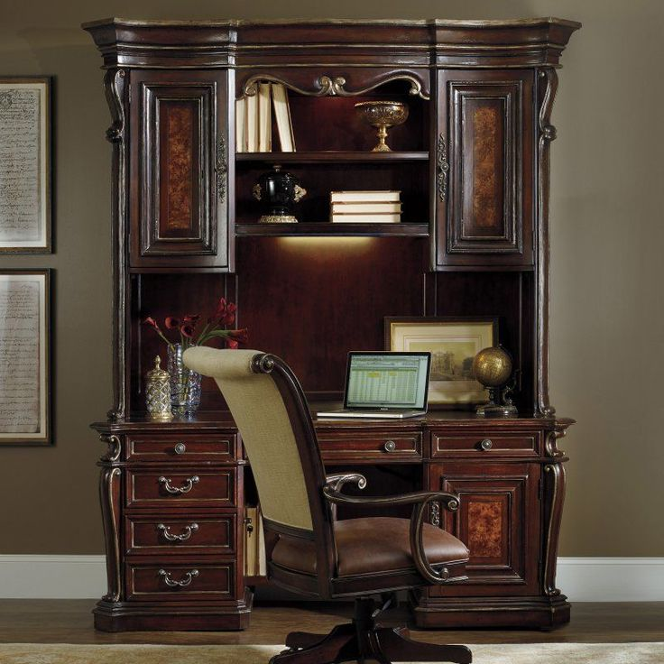 Hooker Furniture Grand Palais Executive Computer Desk With Optional Hutch    Brown   HOOK2366