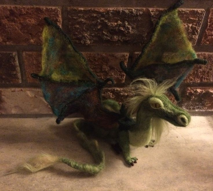 Needle Felted green Dragon with wings, 16 inch, poseable, handmade mythical animal decor, medieval by artbythebeth on Etsy