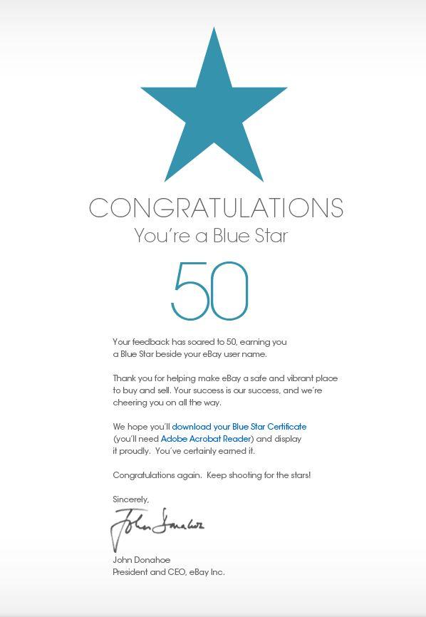 Congratulations You're a Blue Star