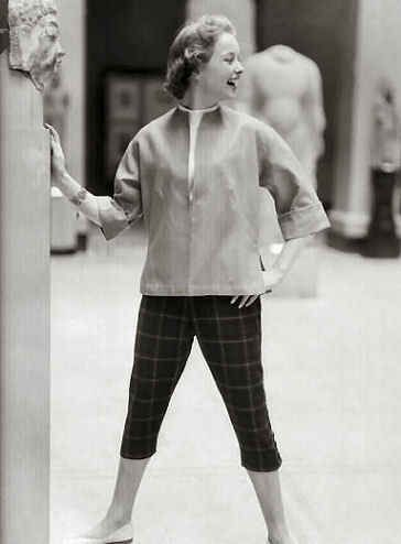 Pedal Pushers- Pants that were shorter, about mid-calf length and were worn as casual pants during leisure time.