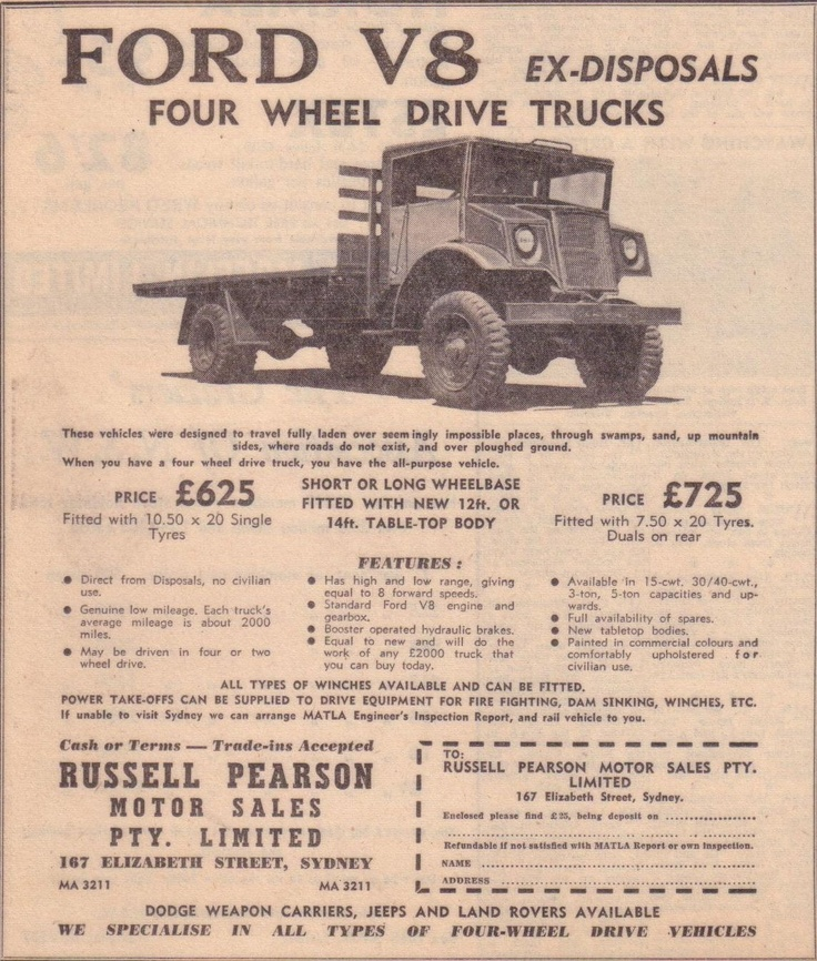 Newspaper ad for Ford Blitz 4WD trucks
