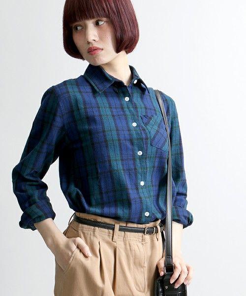 WEGO LADY'S(ウィゴーレディース)のWEGO/ネルチェックシャツ(シャツ/ブラウス)|グリーン