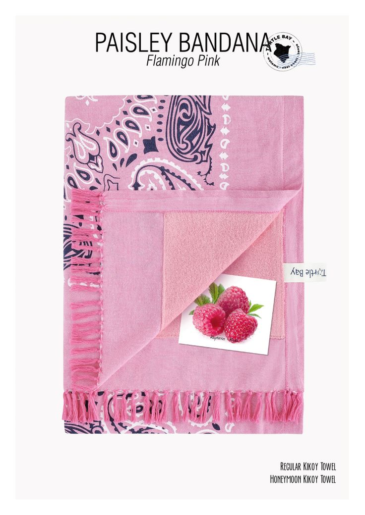Printed Kikoy : Paisley Bandana Flamingo Pink