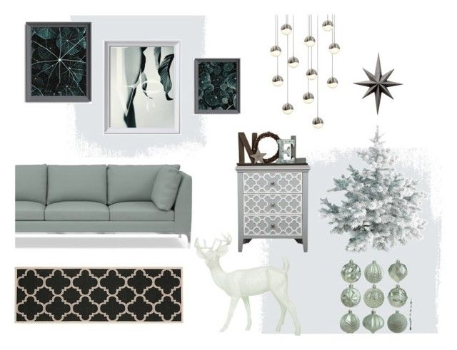 Christmas Living Room by kacix on Polyvore featuring interior, interiors, interior design, home, home decor, interior decorating, Williams-Sonoma, Sonneman, Cyan Design and BEA