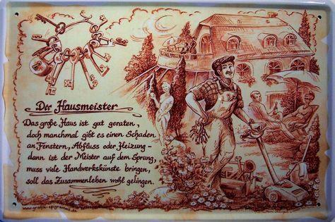 Beruf Hausmeister Blechschild Schild Blech Metall Metal Tin Sign 20 x 30 cm