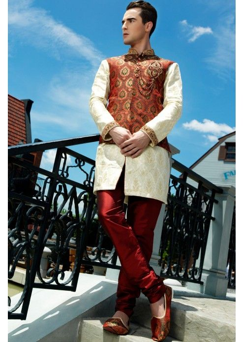 This #exclusive multi-colour slim fit #IndoWestern brocade sherwani will surely…