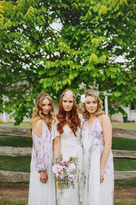pastel printed boho bridesmaid gowns / http://www.deerpearlflowers.com/40-chic-bohemian-bridesmaid-dresses-ideas/2/
