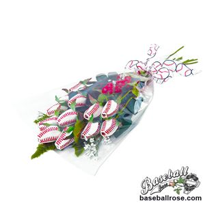 "Baseball Rose ""Home Run"" Bouquet - 6 Baseball Roses"